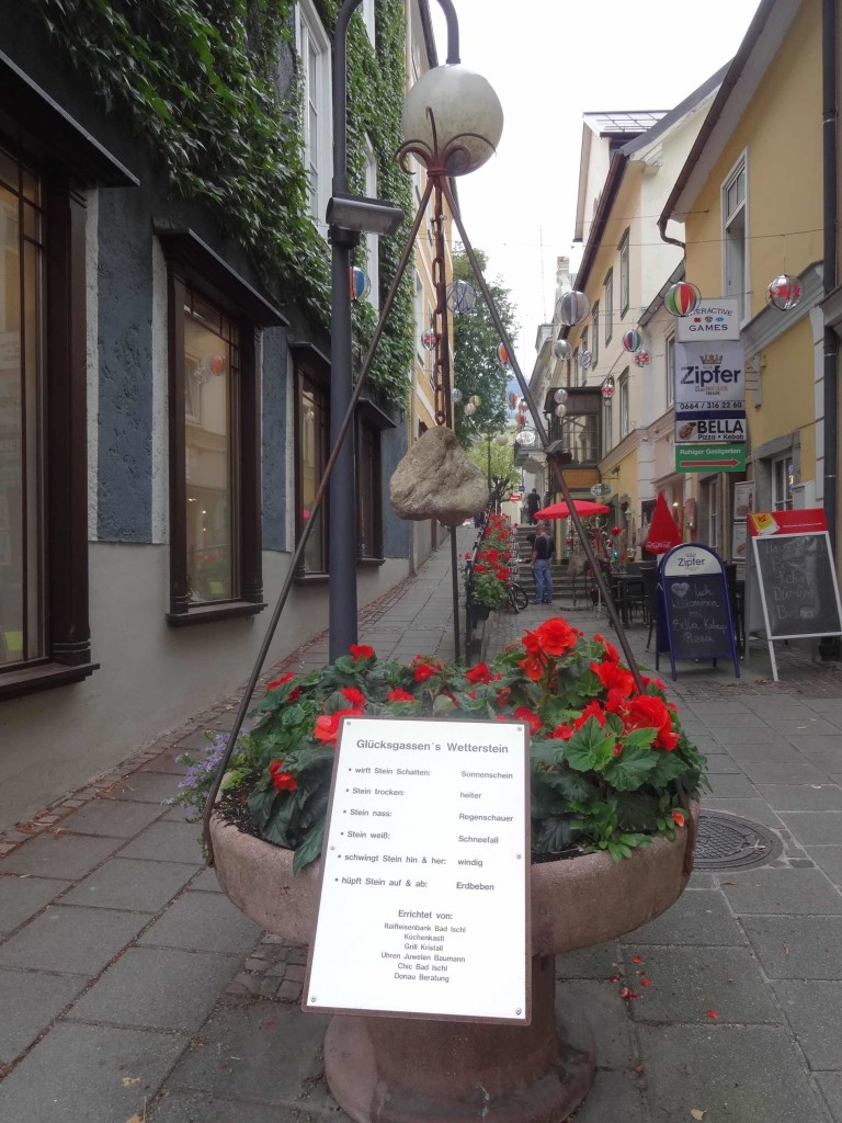As with the original Flower Power generation, there was a strong holistic and bohemian air in Bad Ischl, particularly in and around the delightfully named 'Happiness Alley' where this spiritual stone took centre stage