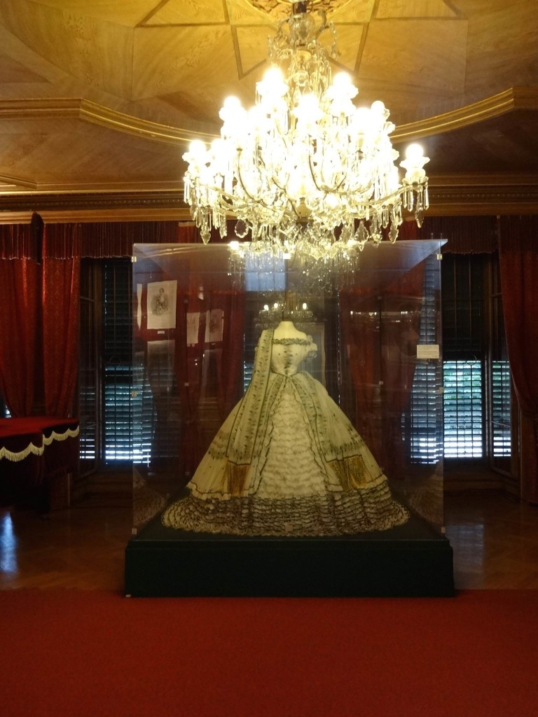 Mementoes from the Emperor's family on display in the Dining Room, including this ball gown worn by the Emperor's wife Elizabeth (who apparently loathed the Kaiservilla and rarely visited it)