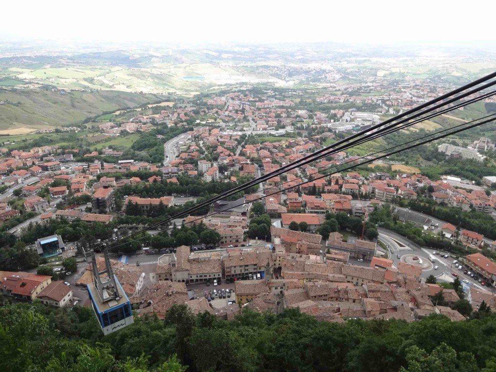 Borgo Maggiore, a town in San Marino that some tourists manage to escape off Mount Titano to visit