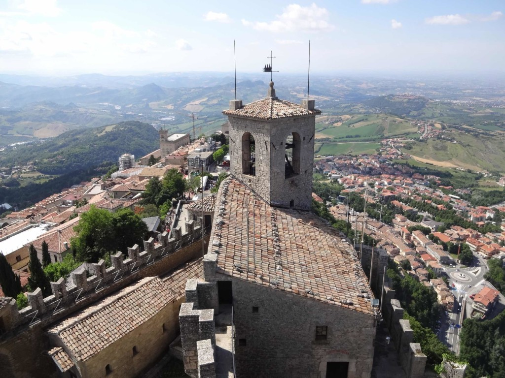 The bell tower and San Marino beyond, seen from the top of the First Tower