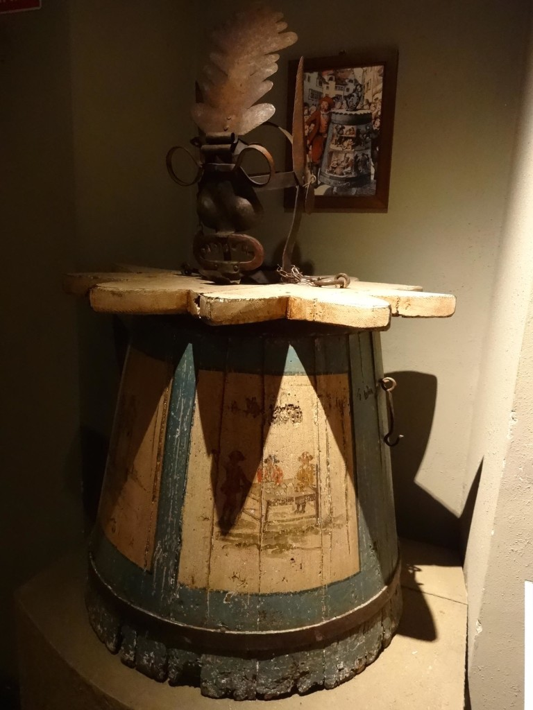 An Austrian barrel pillory used to parade and ridicule the accused through the streets, whilst piling unspeakable substances through the mouth