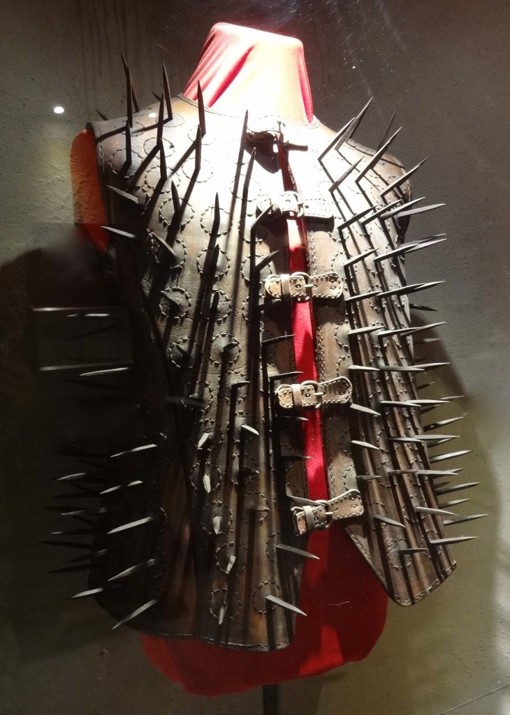 Spikes are clearly all the rage in the torture world: jackets like this one were worn by both bear hunters to protect themselves from a bear attack, and by medieval prison wardens to protect themselves during riots. It is uncertain whether this particular jacket was a 'Bear Jacket' or a 'Warder's Corset'