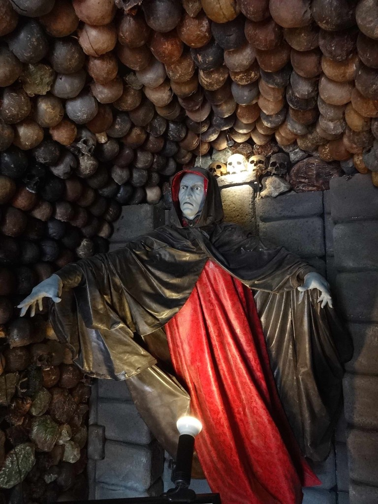 """Not the """"mysterious old man"""" who sold me my entrance ticket but the first vampire on display at the Museum of Vampires, found inside the museum's vestibule. First impressions weren't good: I could see the string he was using to pretend to fly"""