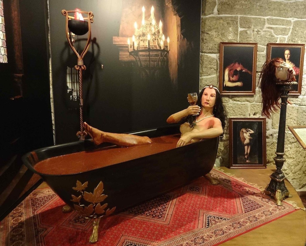 Erzsébet (Elizabeth) Bathory seen here bathing in human blood, although it looks more like a bath of gravy to me. She also looks rather like Game of Thrones's Melisandre