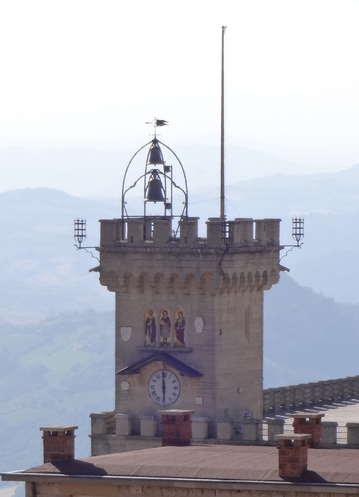 The three figures on the front of the Clock Tower of the Public Palace are Saint Marinus the founder of San Marino, Saint Agatha the patron Saint of San Marino, and Saint Leo who built the first monastery in nearby Rimini