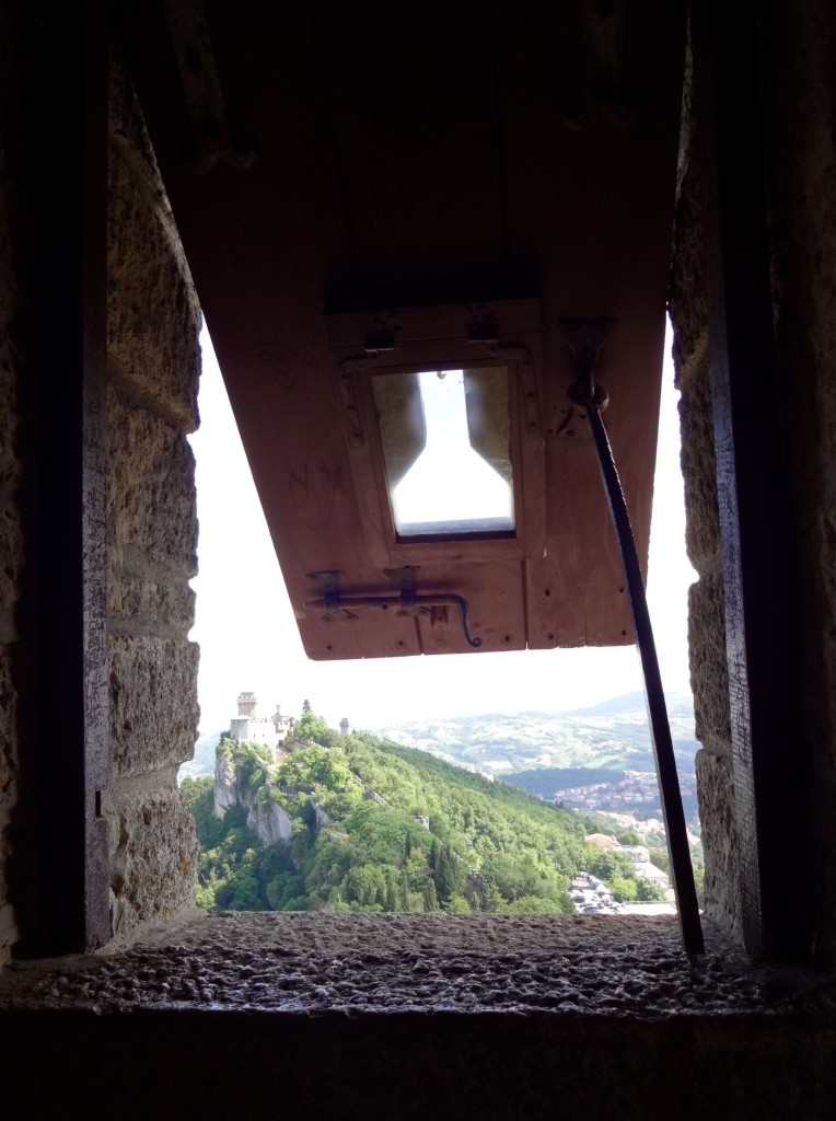 Arty San Marino shot number one: looking out of a shuttered window inside the First Tower towards...