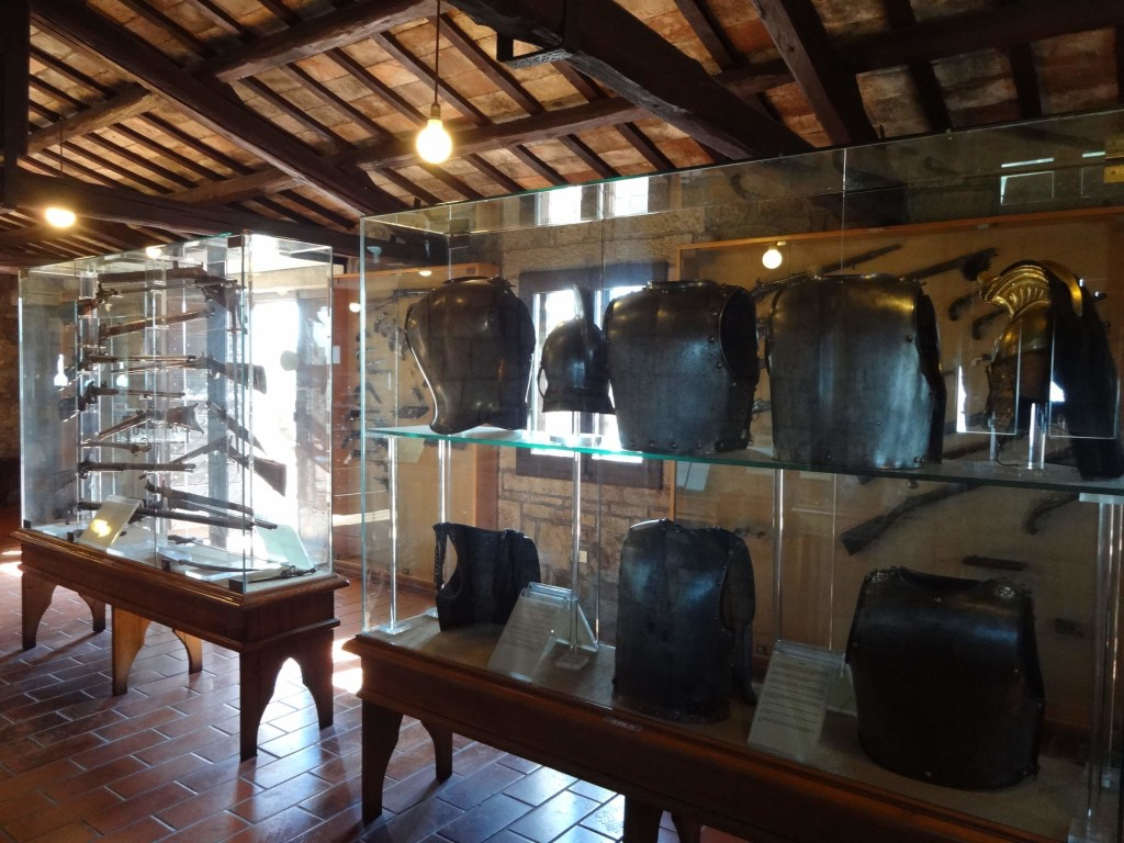 San Marino, San Marino City, Second Tower, weapon and body armour collection on display