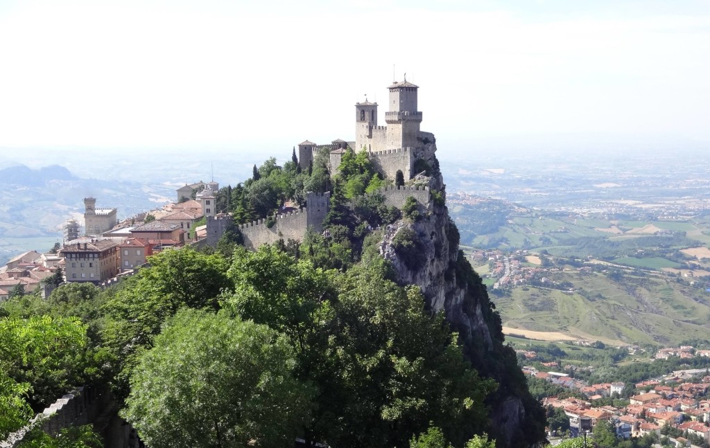 Typically San Marino: one of millions of similar snaps taken annually by tourists capturing the country's famous and iconic Rocca Maggiore (the major fortress) and Guaita (the First Tower)