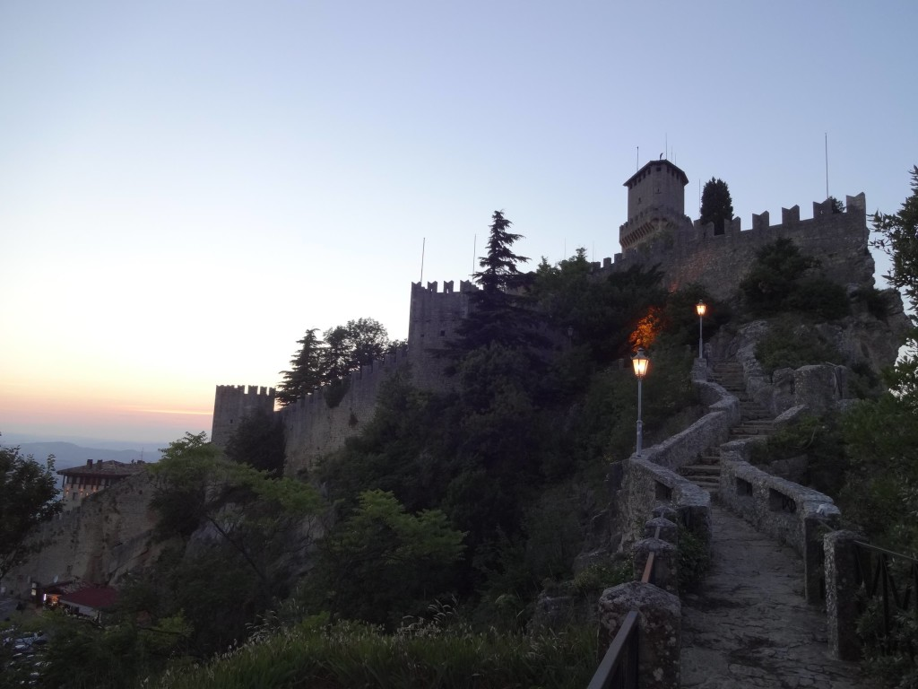 San Marino, San Marino City, steps leading up to First Tower, no crowds in the evening