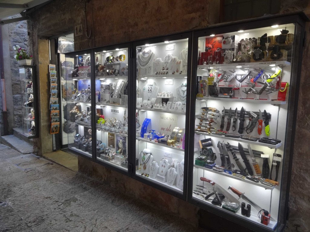 A typical souvenir shop in San Marino. Good luck getting one of those replica knives home through airport security