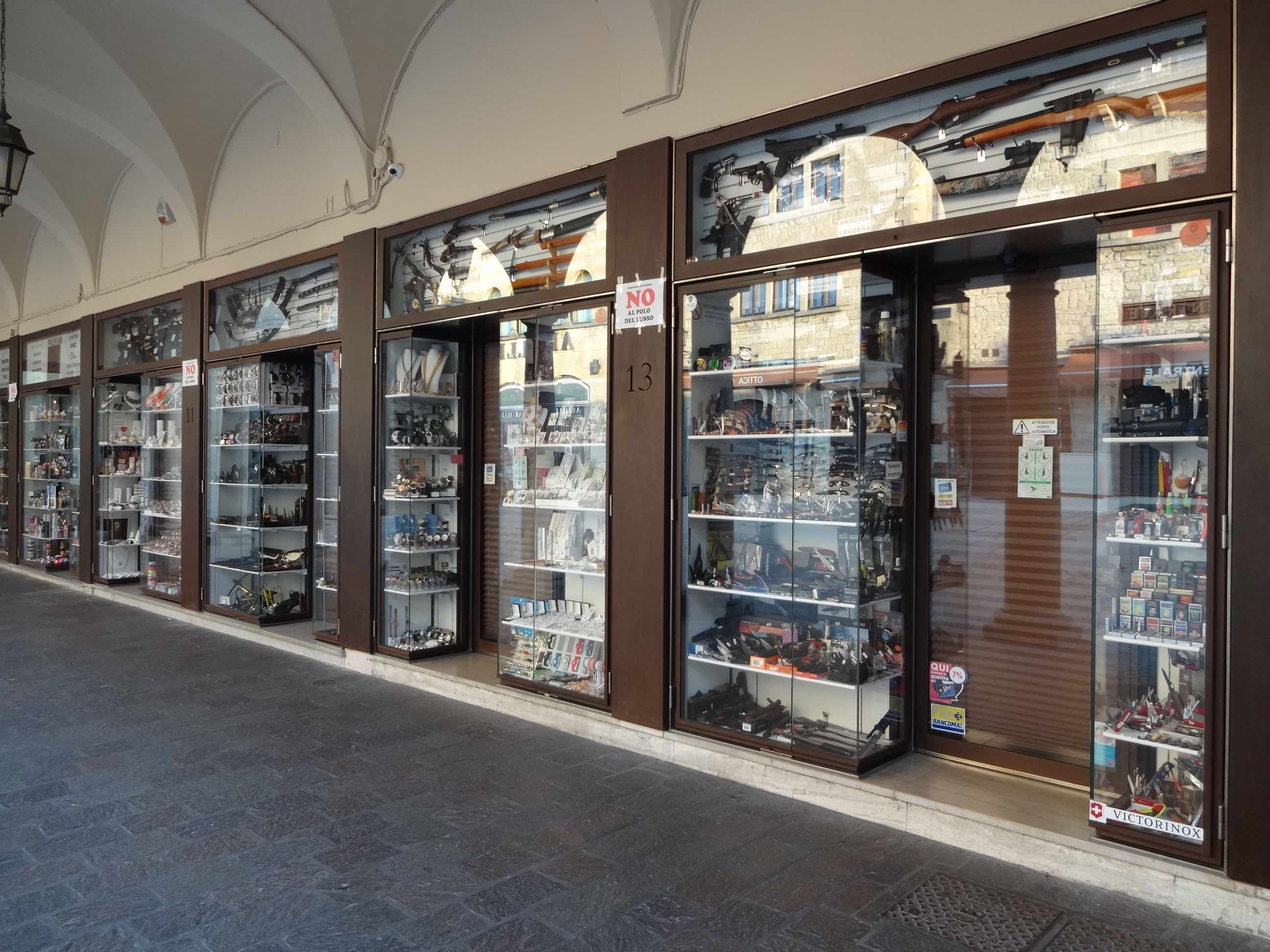 San Marino, San Marino City, weapons obsession, row of shops | The ...