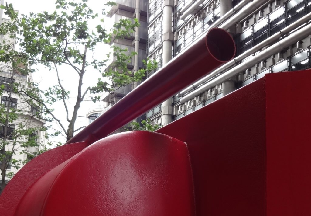 Sculpture in the City 2016, London, Anthony Caro, Aurora, Lime Street, detail with Lloyds