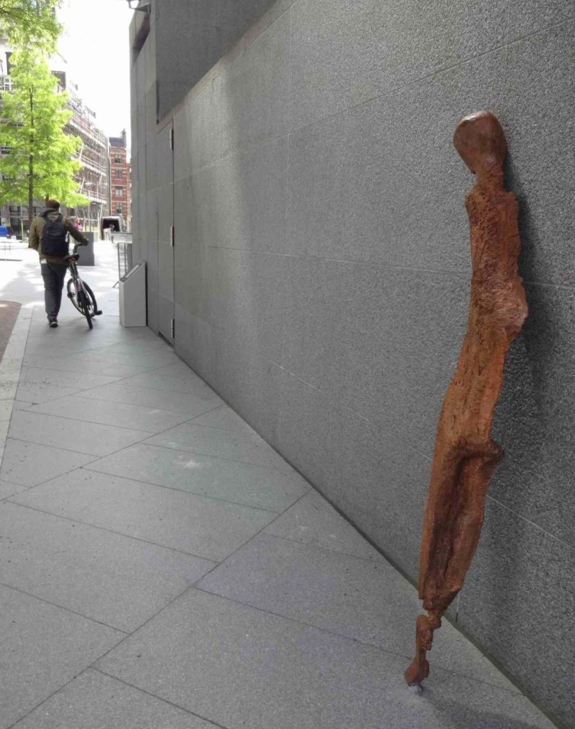 Sculpture in the City London 2016, Enrico David, Untitled, with cyclist