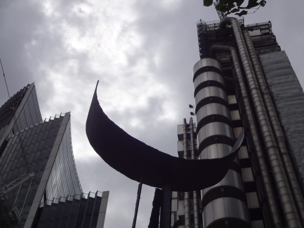 Sculpture in the City London 2016, Michael Lyons, Centaurus:Camelopardalis, Camelopardalis like moon infront of Lloyds