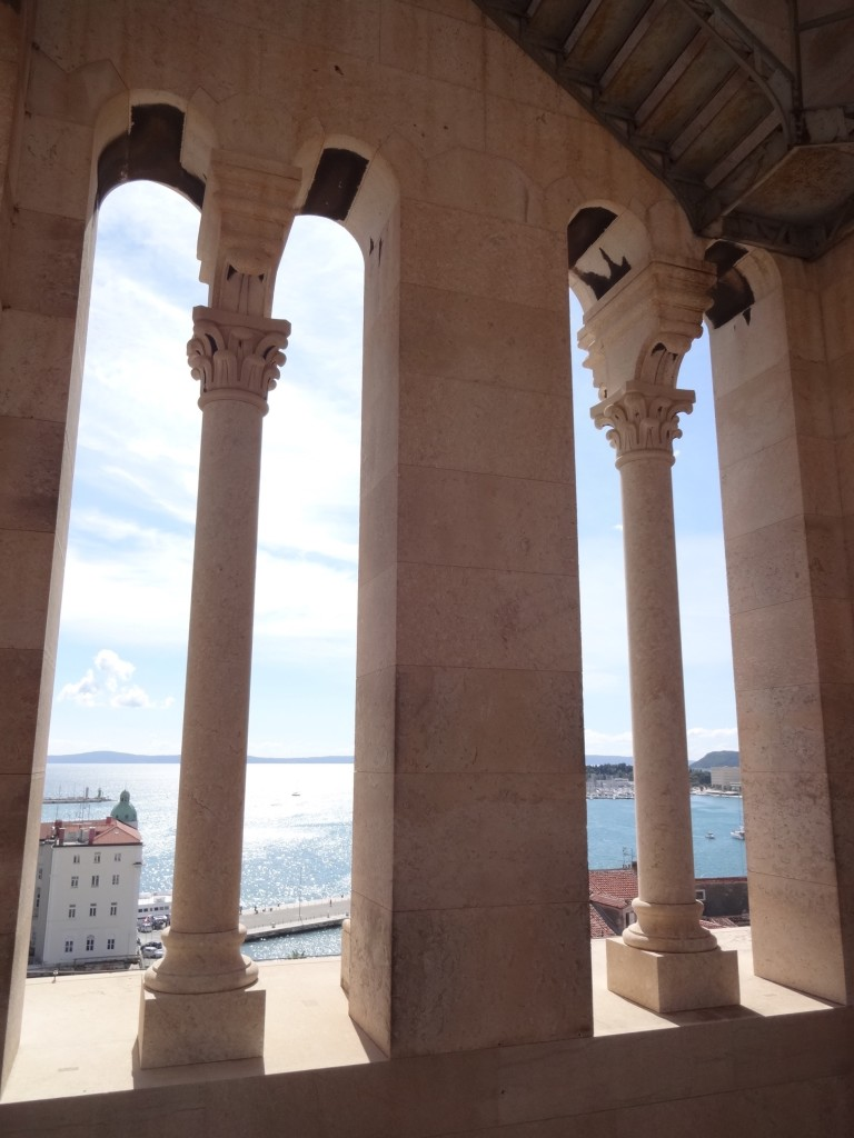 Split, Diocletian Palace, Belfry, view half way up with stairway in corner