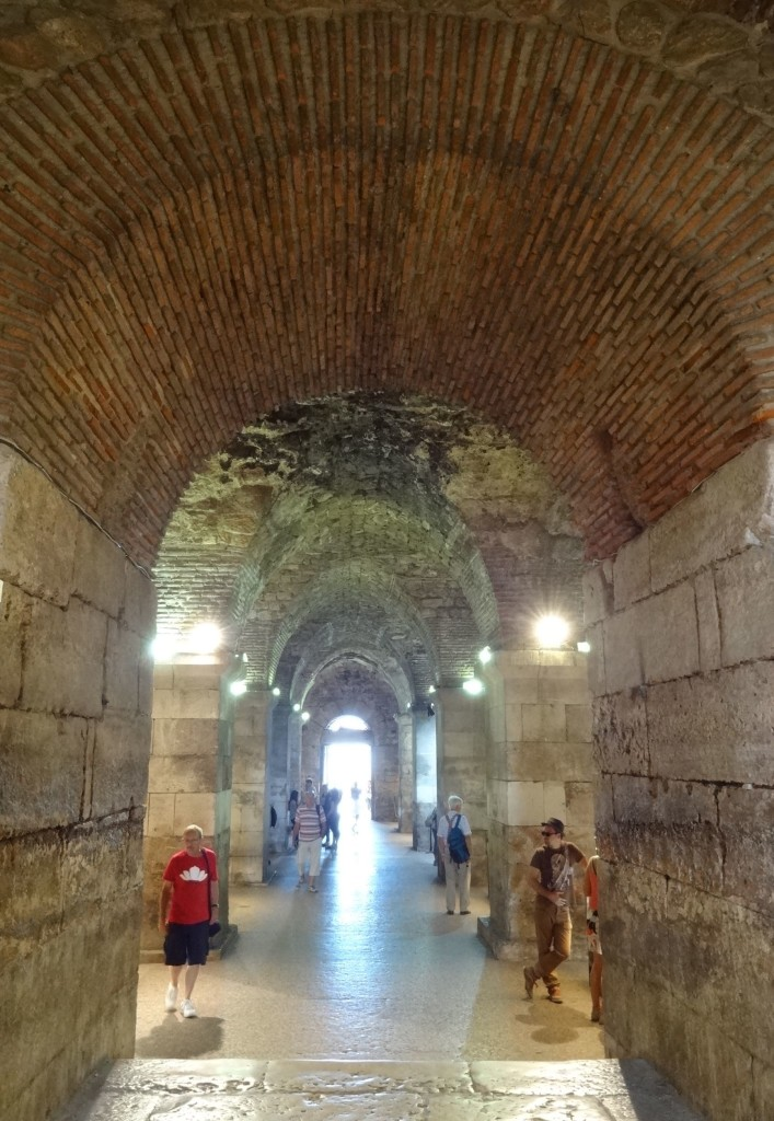 Split Diocletian's Palace, Cellars Peristil end looking up at ceiling