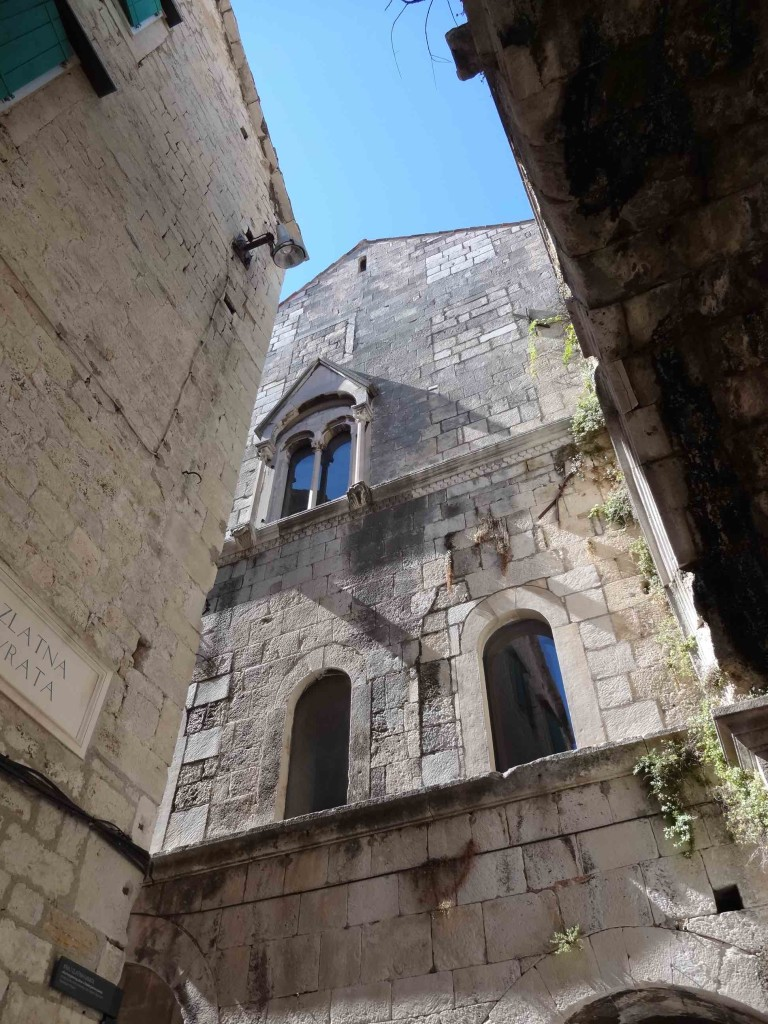 Split Diocletian's Palace, Golden Gate end narrow alley looking up at window