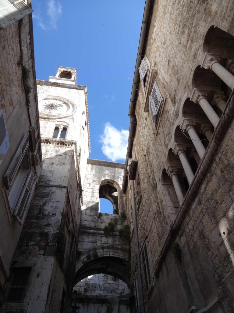 Split Diocletian's Palace, Iron Gate inner side looking up at clock face