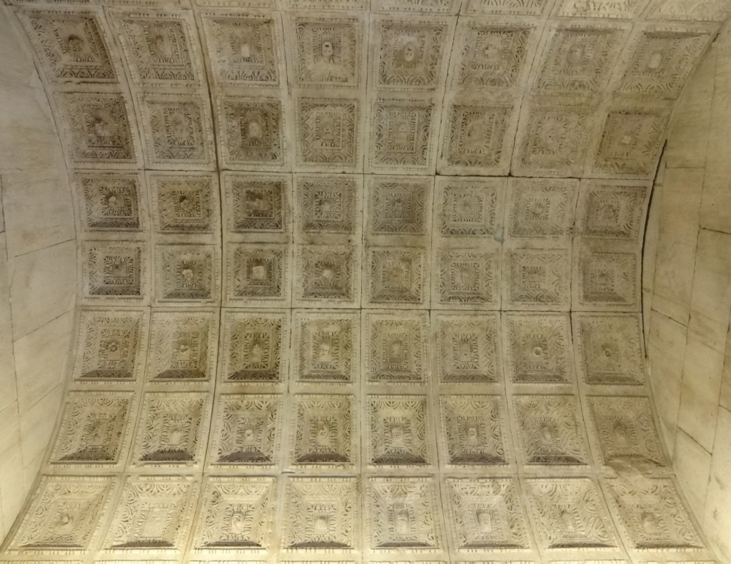 The stunning Roman frieze and vaulted ceiling (pictured) have stood the test of time ... and religious conversion