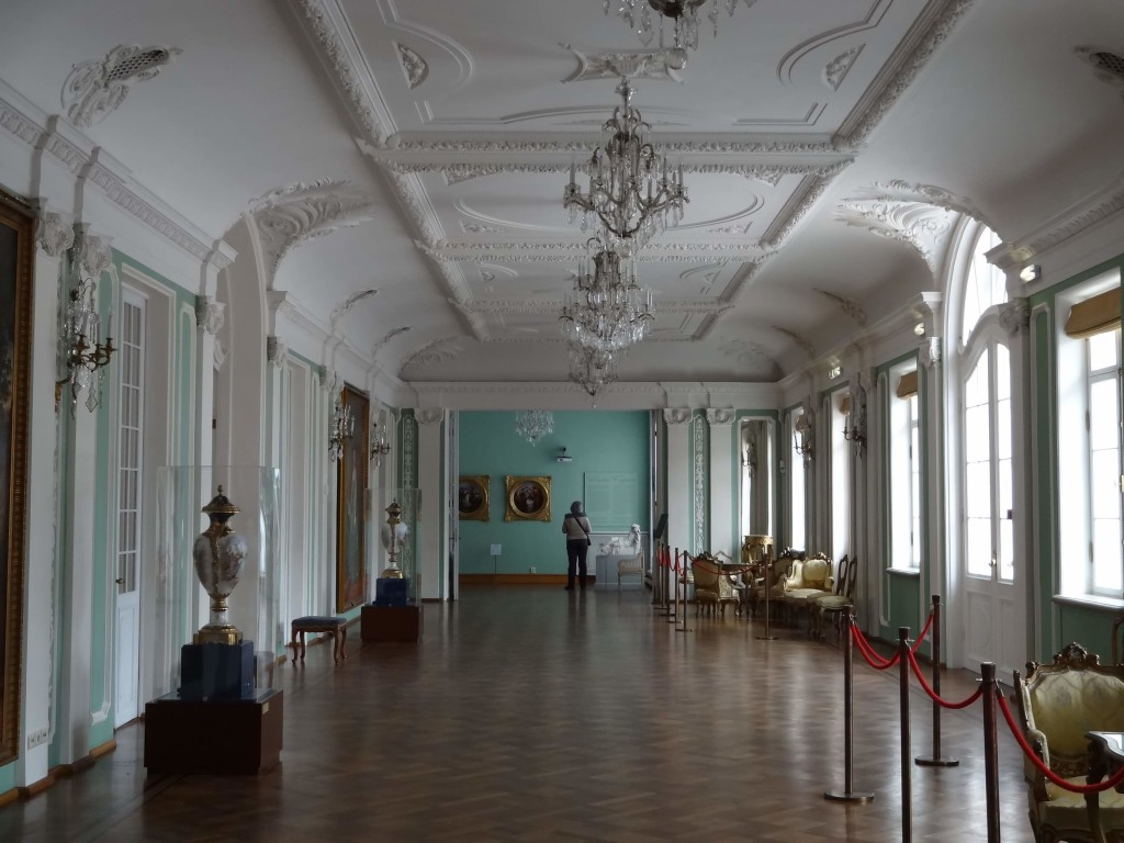 One of the palace corridors with examples of Russian art, pottery  and furniture on display
