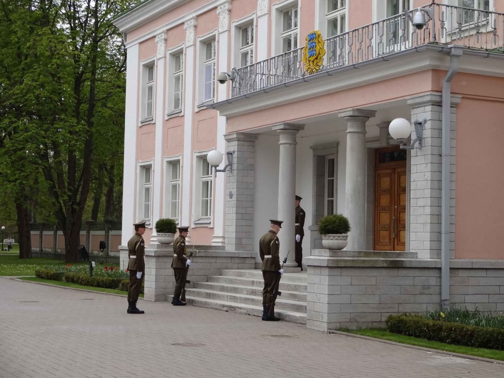 Preparing for the daily noon 'changing of the honour guards' at the Presidential Palace