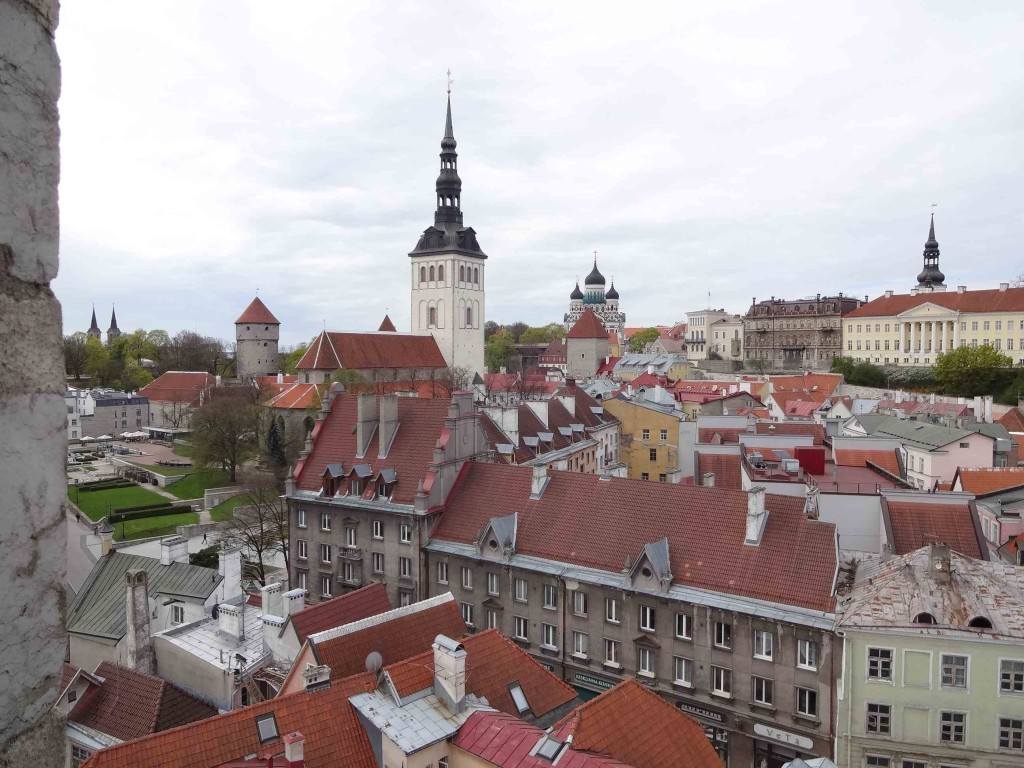 (From left to right) The Kiek in de Kök , St Nicolas' Church museum and St Alexander Nevsky cathedral seen from the top (and safety) of the Old Town belfry