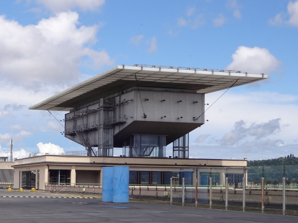 The exterior of the Giovanni e Marcella Agnelli picture gallery on the roof of the old FIAT factory building