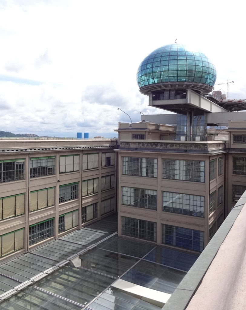 Why Charlie Croker and the gang chose to drive and not fly out of Turin from here is anyone's guess. As well as a track, the FIAT factory building also has a helipad on its roof