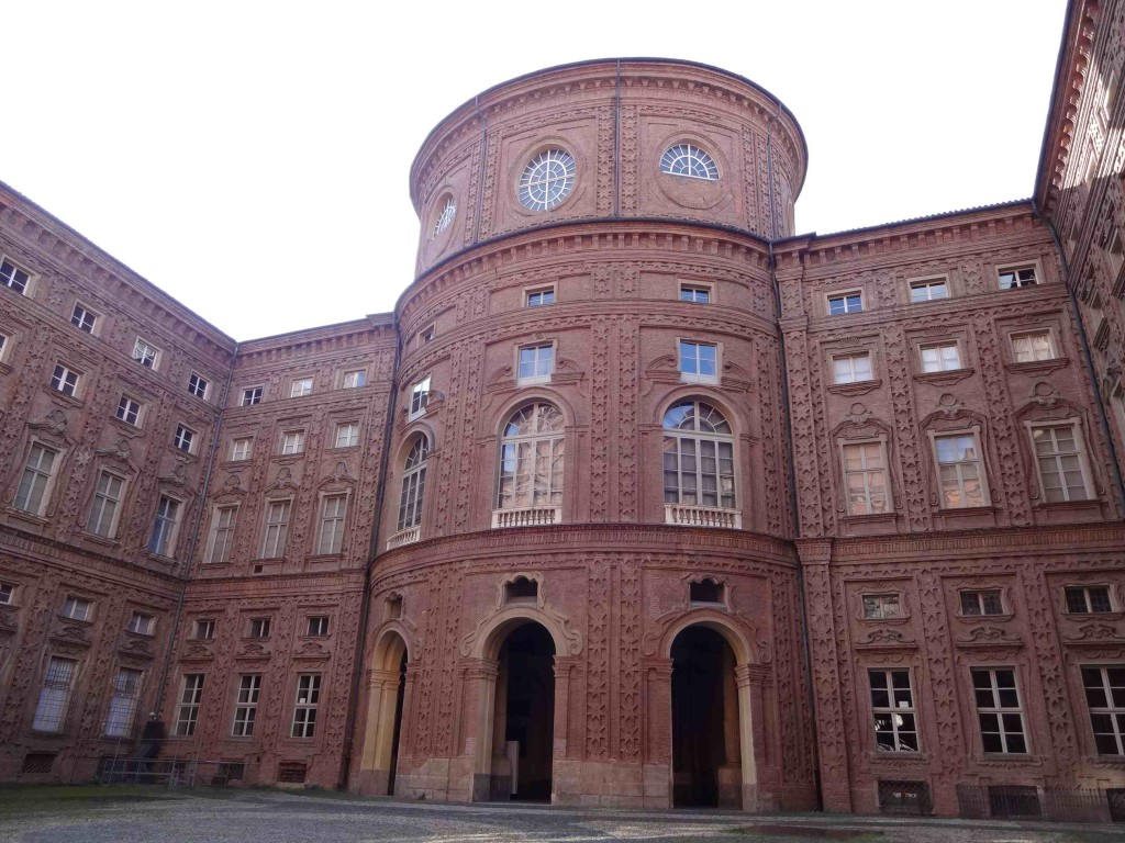 From the courtyard, one can best appreciate the unique rounded structural elements of the baroque Palazzo