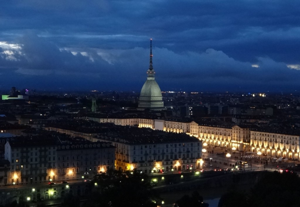Worth bearing the cold - and the amorous couples nearby - to wait until sunset and see Turin look even more stunning at night