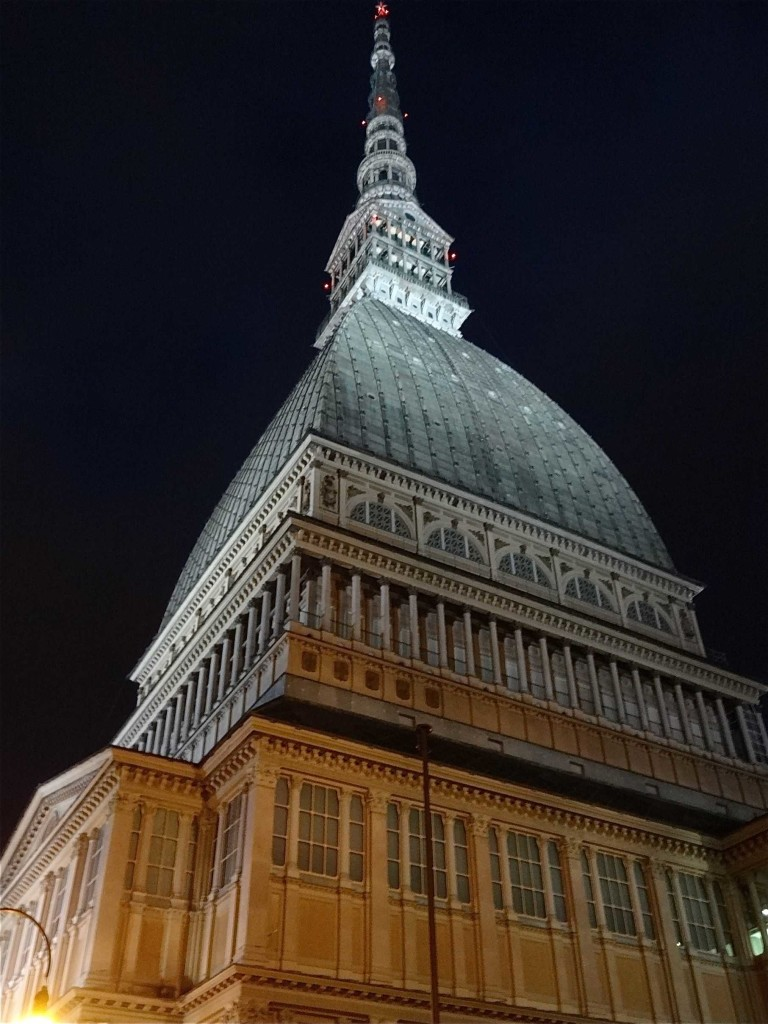 Turin Mole Antonelliana exterior from street night
