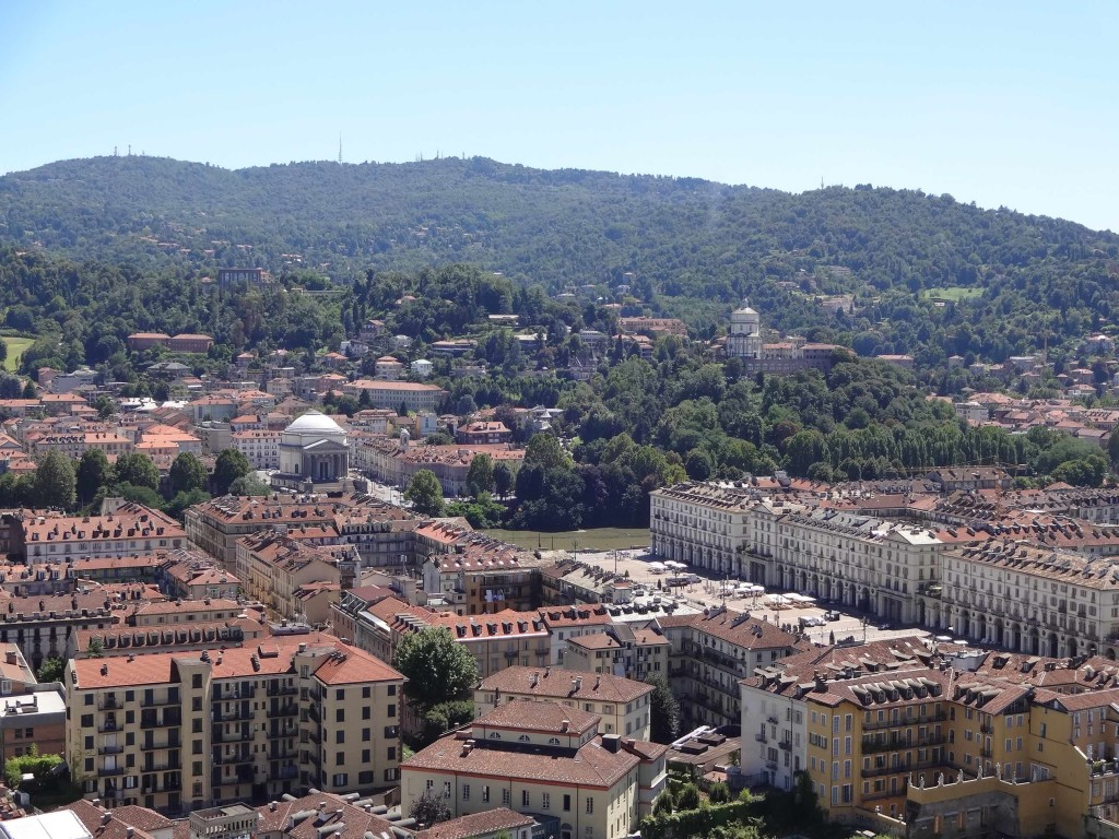 The Chiesa di Gran Madre (centre-left) and Chiesa di Santa Maria on the Monte dei Cappuccini (right) seen from the top of the Mole Antonelliana