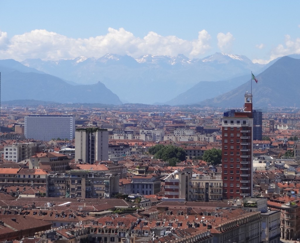 The view across Turin and towards the Alps from the top of the Mole Antonelliana