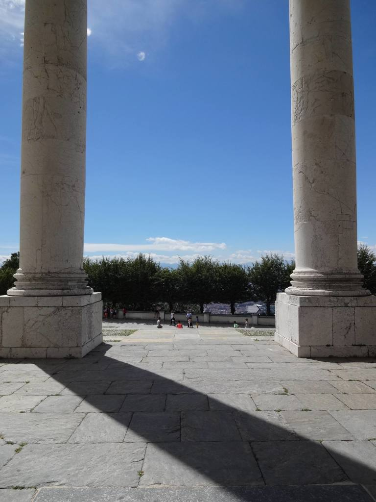 Huge columns seen from the entrance to the basilica