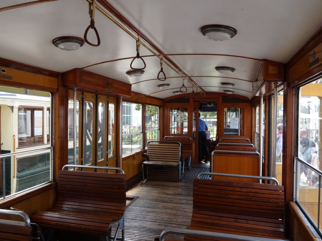 The charming interior of the funicular carriage