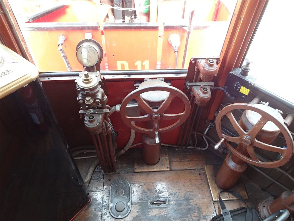 Original features inside the driver's carriage, more decorative than operational now. The less than romantic looking electric lever that does operate the carriage is deliberately not in shot