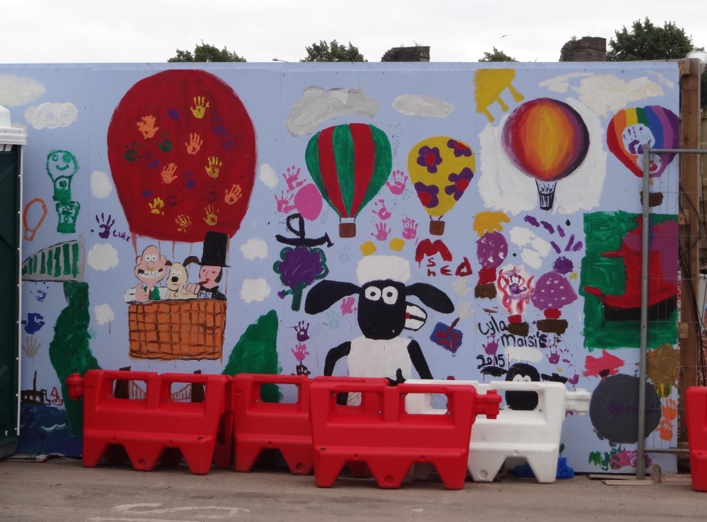 Bristol's other famous (adopted) son Isambard Kingdom Brunel joins Shaun and friends in this mural by Lyla Maisie, close to Princes Wharf