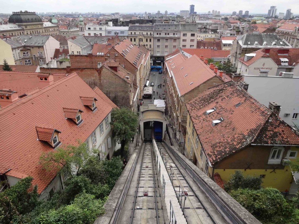 Looking down all, er, 66 metres of track towards the Lower Town from the top of the Zagreb Funicular