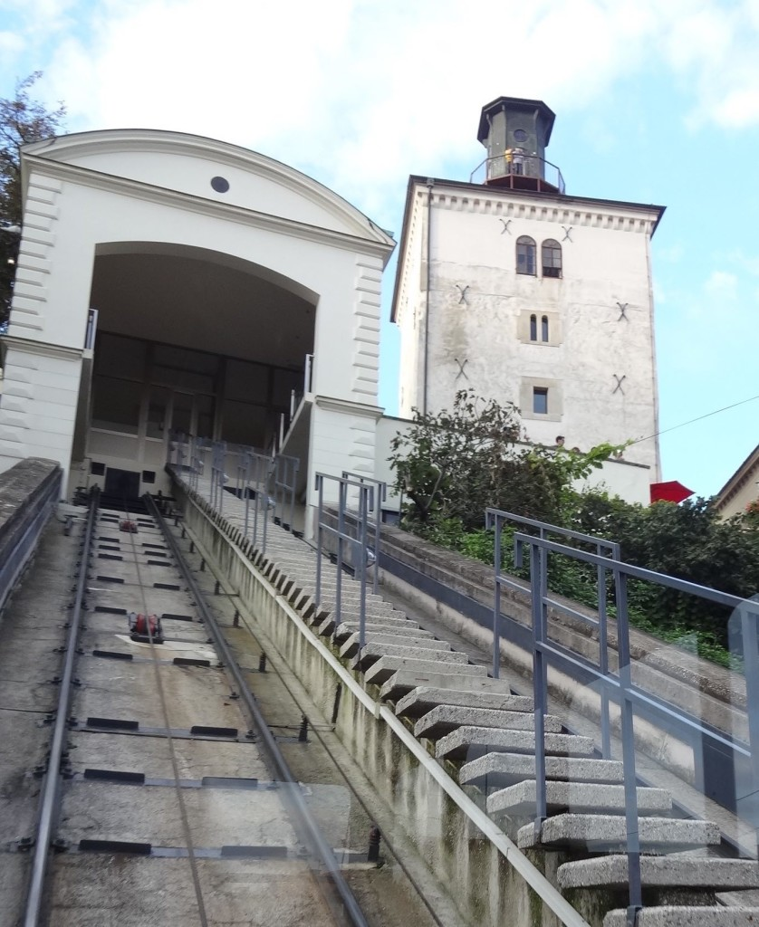 Next to the top of the Zagreb Funicular is the thirteenth century Lotrščak Tower