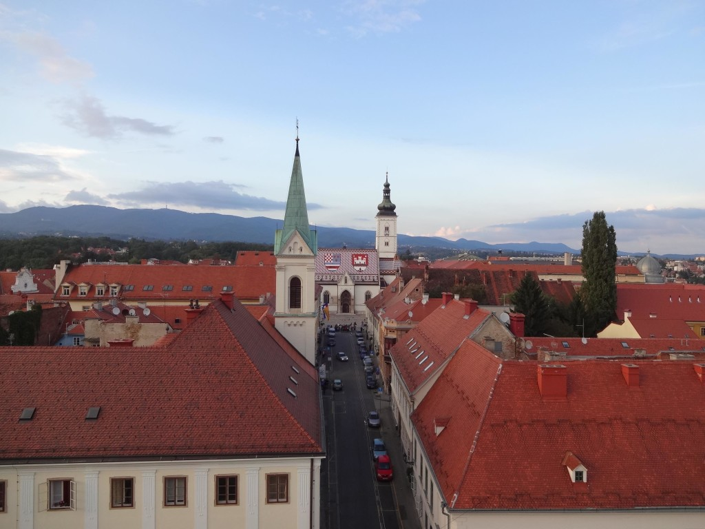 Standing out on the roof of Lotrščak Tower, one can enjoy 360 degree views of Zagreb, including St Mark's Church to the north ...
