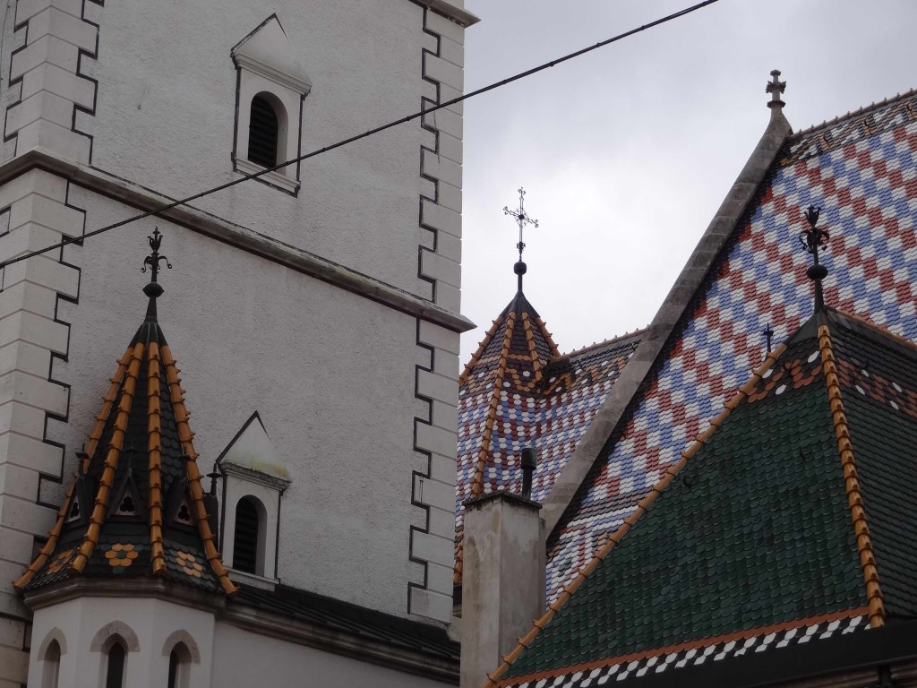 Zagreb Croatia, things to see and do in Zagreb, St Mark's Church, Crkva Svetog Marka, Trg Svetog Marka, back close up details