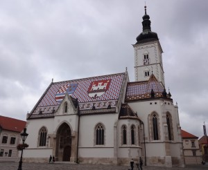 Zagreb Croatia, things to see and do in Zagreb, St Mark's Church, Crkva Svetog Marka, Trg Svetog Marka, front angle