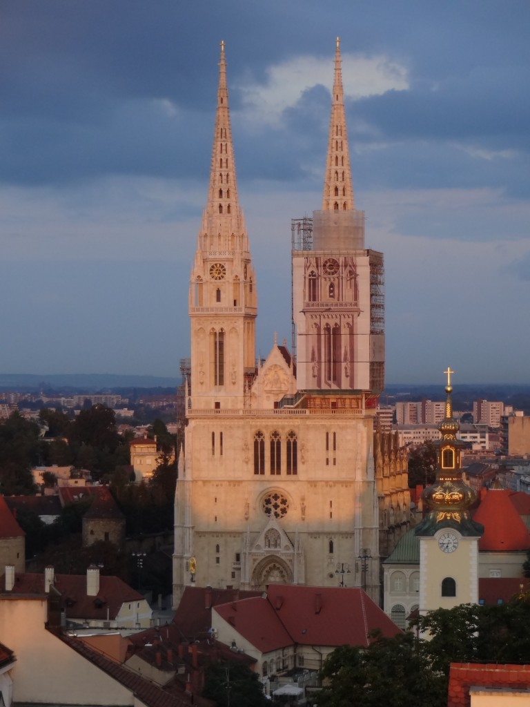 Zagreb Croatia, what to see and do in Zagreb, Cathedral of the Assumption of the Blessed Virgin Mary Kaptol seen from Lotrščak Tower