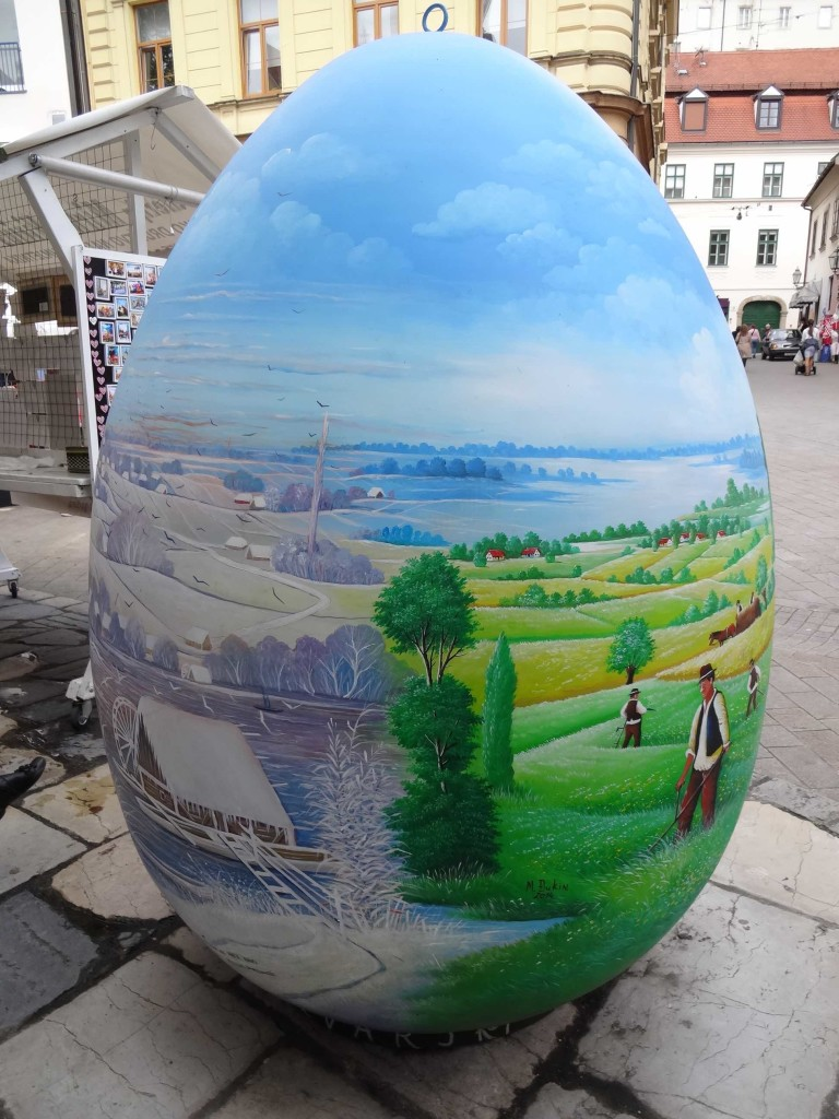 As well as showcasing Croatian naïve art, this egg also celebrates the tradition of painting eggs for Easter in the Croatian region of Podravina. The size and type of creature that laid this huge egg remains a mystery