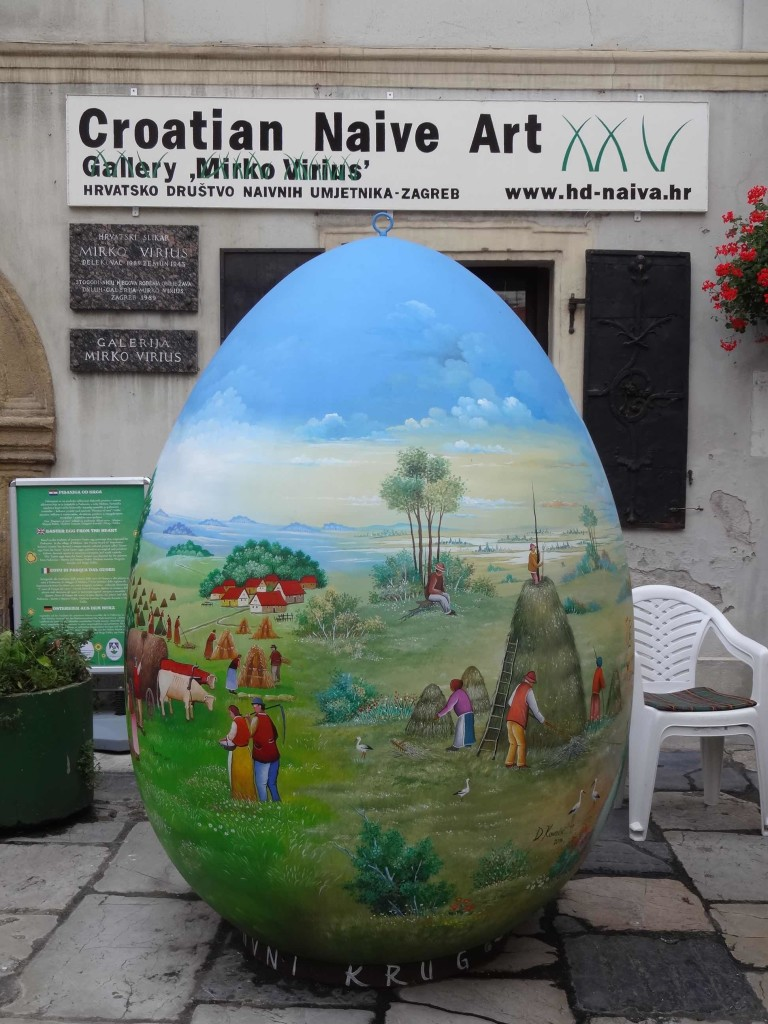 "Zagreb's ""Easter Egg from the Heart"" outside the Croatian Naive Art Museum, painted by Martin and Stjepan Dukin, Vladimir Ivancan, Dragutin Kovacic and Drago Zufika"