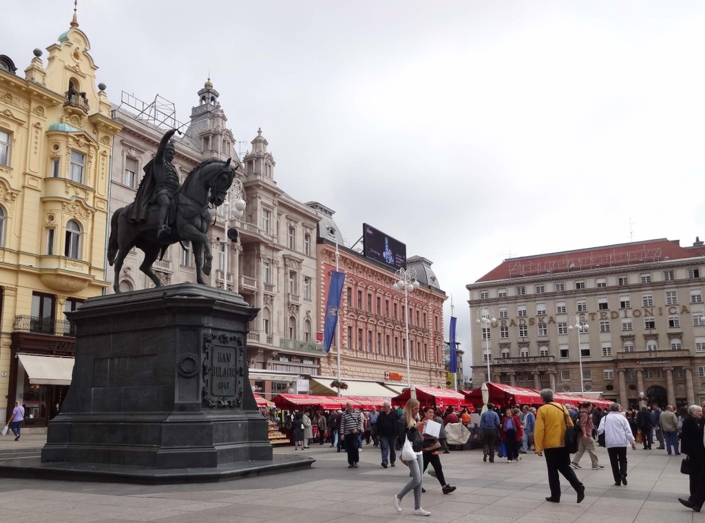 Trg ban Josip Jelačić, the main square and geographical heart of Zagreb, showcasing a mix of 18th- and 19th-century Austro-Hungarian architecture