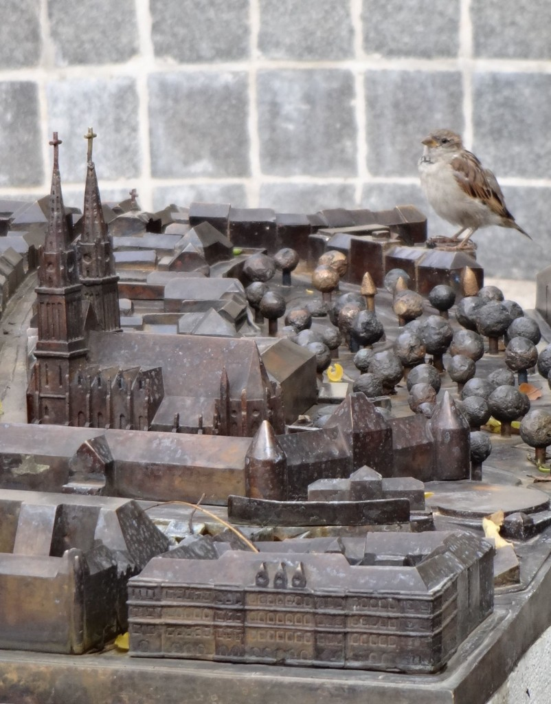 Zagreb Croatia, what to see and do in Zagreb, model of the city along Bakačeva, close up of cathedral with bird
