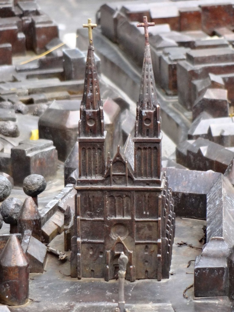 How the cathedral will look once the present restoration work is completed (although it won't be bronze in colour and hopefully the crucifixes on top of the spires will look less precarious)