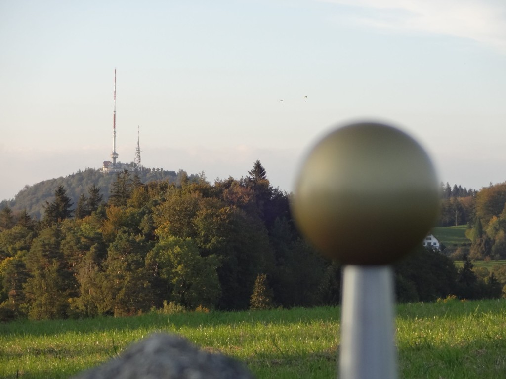 Zurich Uetliberg, Planetenweg, Planet trail, Neptune, close up with transmitter tower in background