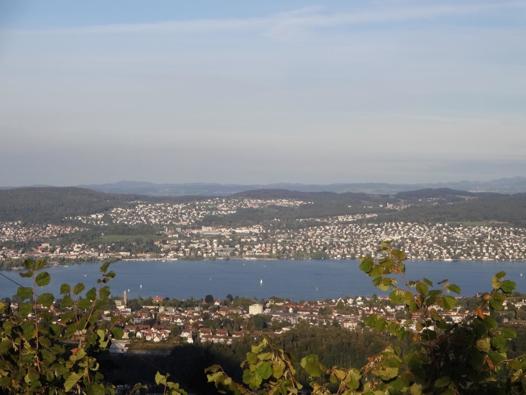 Zurich Uetliberg, Planetenweg, Planet trail, view of Lake Zurich between Uranus and Neptune